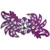 Motif Glitter Leaves with stones 28x13cm Fuchsia Crystal Aurora Borealis